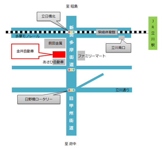 金井自動車の所在地地図